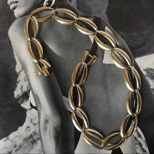 Chunky Chain Link Gold Polished Necklace Vintage